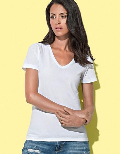 Stedman Damen T-Shirt MEGAN V-NECK V-Ausschnitt Top S M L XL Neu ST9130